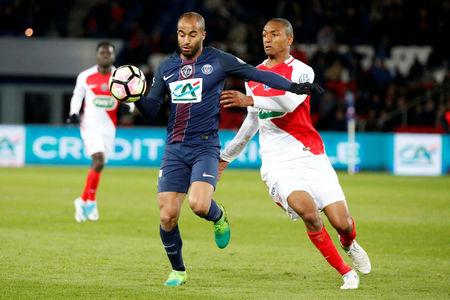 Soccer Football - Paris Saint Germain v AS Monaco - French Cup Semi-Final - Parc des Princes stadium, Paris, France - 26/04/2017. Lucas Moura of Paris Saint Germain in action against Abdou Diallo of AS Monaco. REUTERS/Charles Platiau