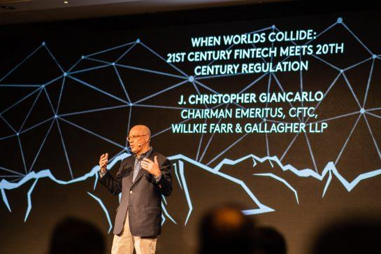 <small>Former CFTC Chairman Christopher Giancarlo speaks at the CFC St. Moritz conference. (Photo courtesy of CFC St. Moritz)</small>