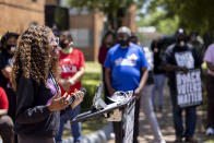 Jessica Fortune Barker, cofounder of Lift Our Vote, speaks about voting rights during the John Lewis Advancement Act Day of Action, a voter education and engagement event Saturday, May 8, 2021, in front of Brown Chapel A.M.E. Church in Selma, Ala. (AP Photo/Vasha Hunt)