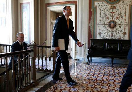 Deputy Attorney General Rod Rosenstein leaves after a closed briefing for members of the House of Representatives in Washington
