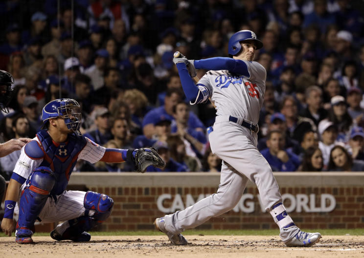 Dodgers' rookie Cody Bellinger watches his home run during Game 4 of baseball's NLCS. (AP)