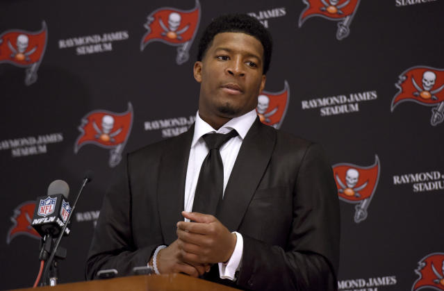 FILE - In this Nov. 27, 2016, file photo, Tampa Bay Buccaneers quarterback Jameis Winston (3) speaks to the media following a win over the Seattle Seahawks in an NFL football game, in Tampa, Fla. Winston was notified Thursday, June 28, 2018, by the NFL Special Counsel for Conduct, that he has been suspended without pay for the Buccaneers' first three regular-season games for a violation of the NFL's Personal Conduct Policy. (AP Photo/Jason Behnken, File)