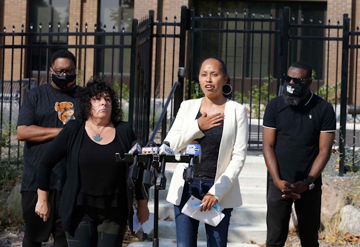 From left: Jacob Blake Sr., father of Kenosha shooting victim Jacob Blake; Deja Vishny and Kimberley Motley, attorneys for the Cole and Anderson families; and state Rep. David Bowen speak about what they say was the unlawful arrest of the mother and sister of Alvin Cole Thursday night during protests in Wauwatosa. They announced a letter has been sent to the Wauwatosa Police Department demanding that evidence from the arrest not be discarded during a news conference outside the department on Friday.