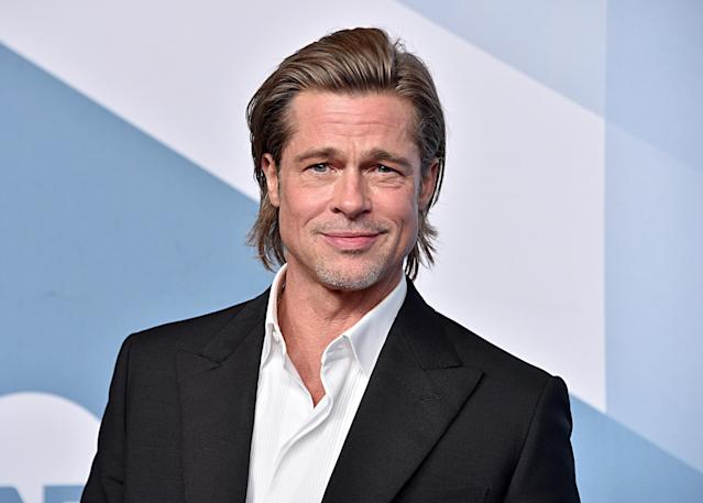LOS ANGELES, CALIFORNIA - JANUARY 19: Brad Pitt, winner Outstanding Performance by a Male Actor in a Supporting Role for 'Once Upon a Time in Hollywood,' poses in the press room during the 26th Annual Screen Actors Guild Awards at The Shrine Auditorium on January 19, 2020 in Los Angeles, California. 721430 (Photo by Gregg DeGuire/Getty Images for Turner)