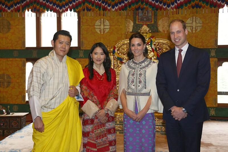 King Jigme Khesar Namgyel Wangchuck, Queen Jetsun Pem, Kate Middleton and Prince William in 2016