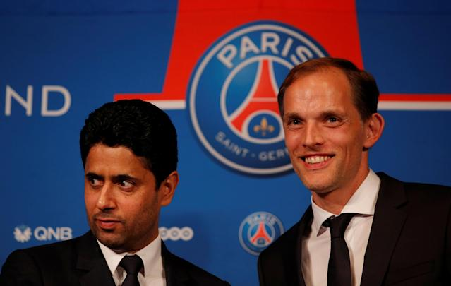 Soccer Football - Paris St Germain Introduce New Coach Thomas Tuchel - Parc des Princes, Paris, France - May 20, 2018 New Paris St Germain coach Thomas Tuchel and president Nasser Al-Khelaifi REUTERS/Philippe Wojazer