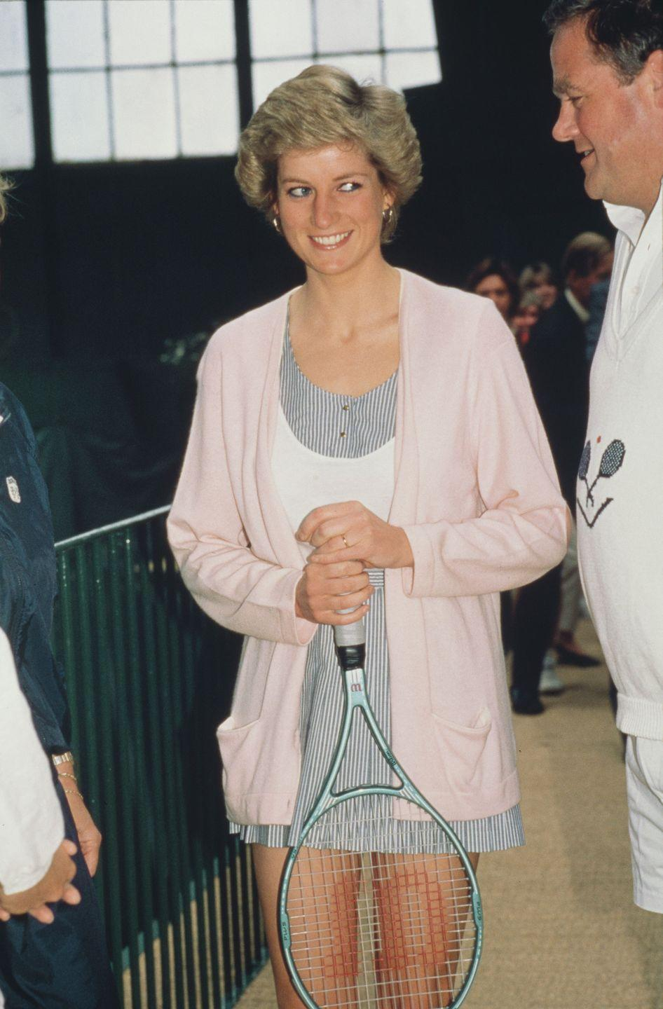 <p>Diana opening the Women's International Tennis Association European Office at the Vanderbilt Racquet Club in London.</p>