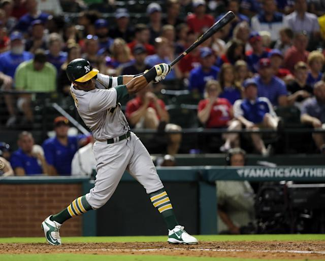 Khris Davis had a breakout season with the A's. (AP)