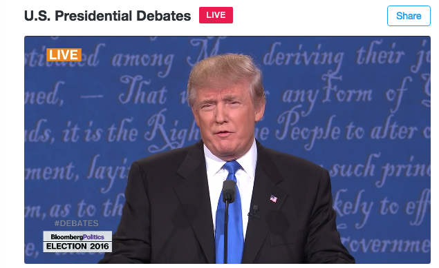 Trump at the debate, streamed on Twitter