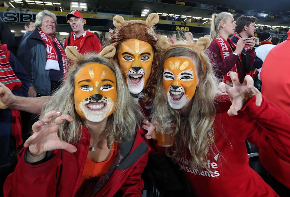British and Irish Lions fans pictured during the tour of New Zealand in 2017 (Inpho/Royal London/PA)