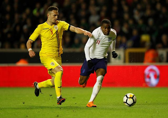 Soccer Football - Under 21 International Friendly - England vs Romania - Molineux Stadium, Wolverhampton, Britain - March 24, 2018 England's Ademola Lookman in action with Romania's Virgil Ghita Action Images via Reuters/Andrew Boyers