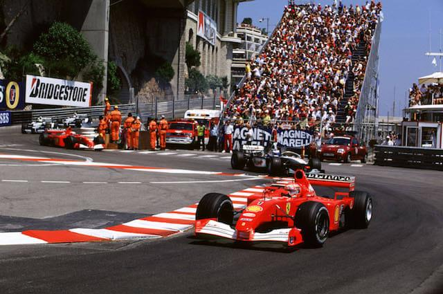 Monaco Grand PrixMonte Carlo, Monaco24th-27th May 2001Michael Schumacher, Ferrari, Leads Mika Hakkinen, West McLaren Mercedes, actionWorld copyright © LAT Photograhic