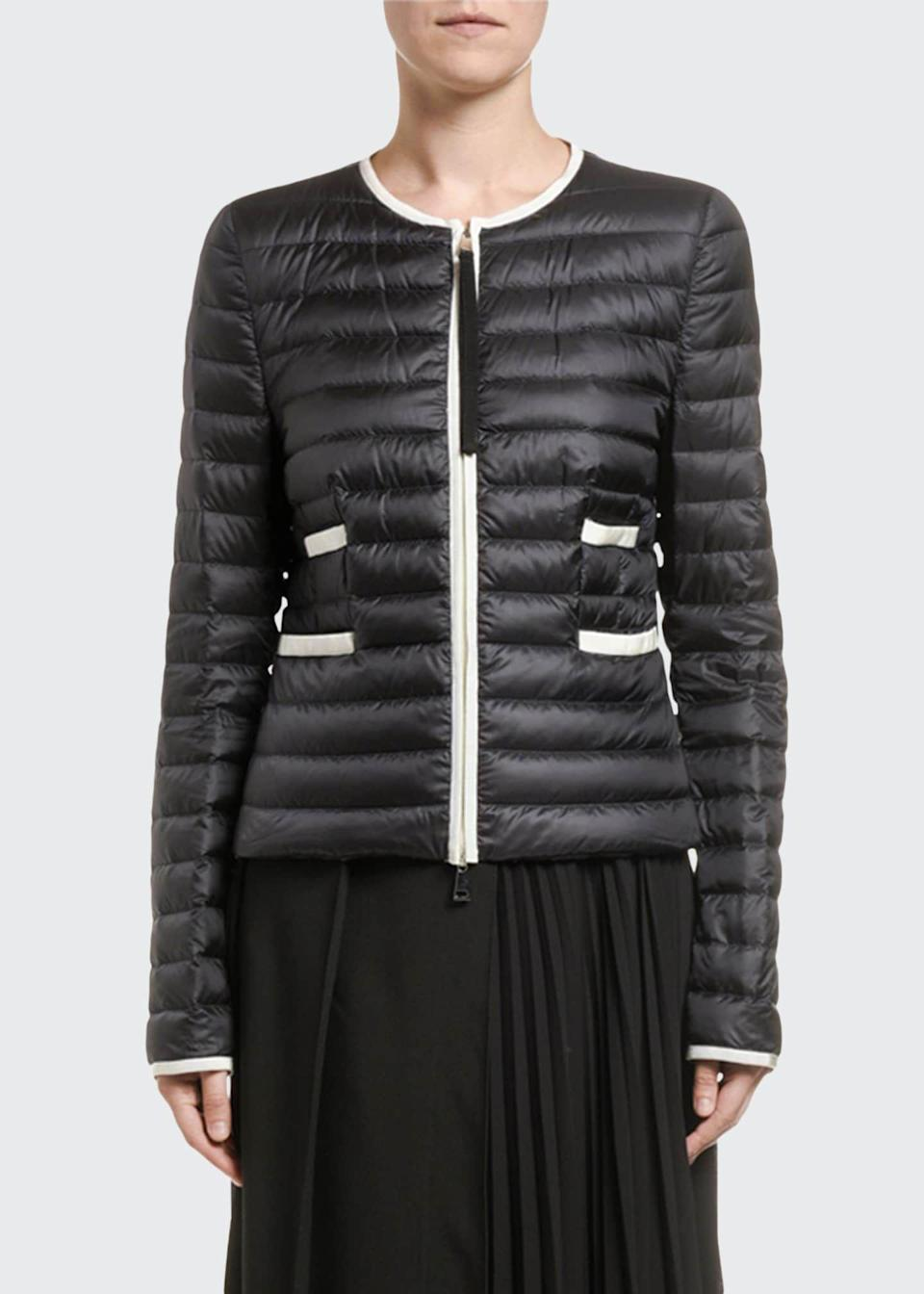 "<p><strong>Moncler</strong></p><p>bergdorfgoodman.com</p><p><strong>$1170.00</strong></p><p><a href=""https://go.redirectingat.com?id=74968X1596630&url=https%3A%2F%2Fwww.bergdorfgoodman.com%2Fp%2Fmoncler-baillet-contrast-trim-puffer-coat-white-prod152160279&sref=https%3A%2F%2Fwww.veranda.com%2Fluxury-lifestyle%2Fluxury-fashion-jewelry%2Fg35119210%2Fpuffer-coats%2F"" rel=""nofollow noopener"" target=""_blank"" data-ylk=""slk:Shop Now"" class=""link rapid-noclick-resp"">Shop Now</a></p><p>If there ever was an elegant puffer jacket, this is it. Thanks to contrast trimming, simple pockets, and a clean collar, this find is your new cocktails-on-a-snowy-evening look. </p>"