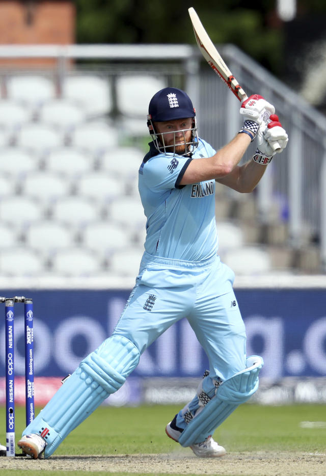 England's Jonny Bairstow bats during the Cricket World Cup match between England and Afghanistan at Old Trafford in Manchester, England, Tuesday, June 18, 2019. (AP Photo/Rui Vieira)