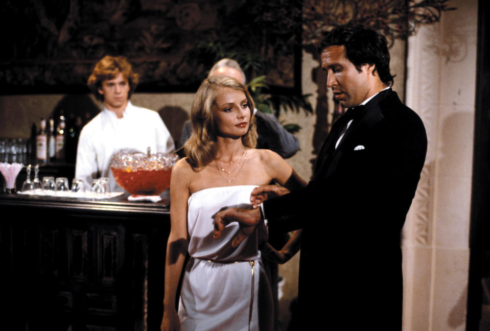 Michael O'Keefe, Cindy Morgan and Chevy Chase in <em>Caddyshack</em>. (Photo: Orion Pictures/ Courtesy: Everett Collection.)