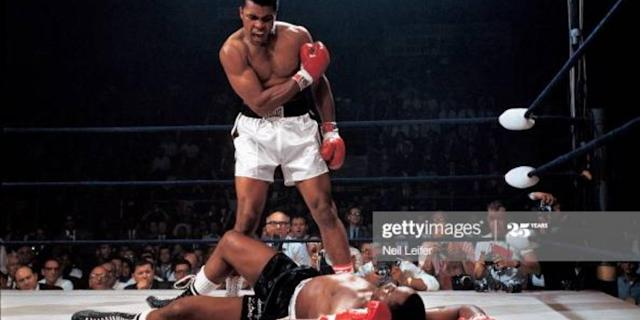 Muhammad Ali in action after first round knockout of Sonny Liston at St. Dominic's Arena, to win the World Heavyweight Boxing title on May 25, 1965. Photo: Neil Leifer/Sports Illustrated via Getty Images