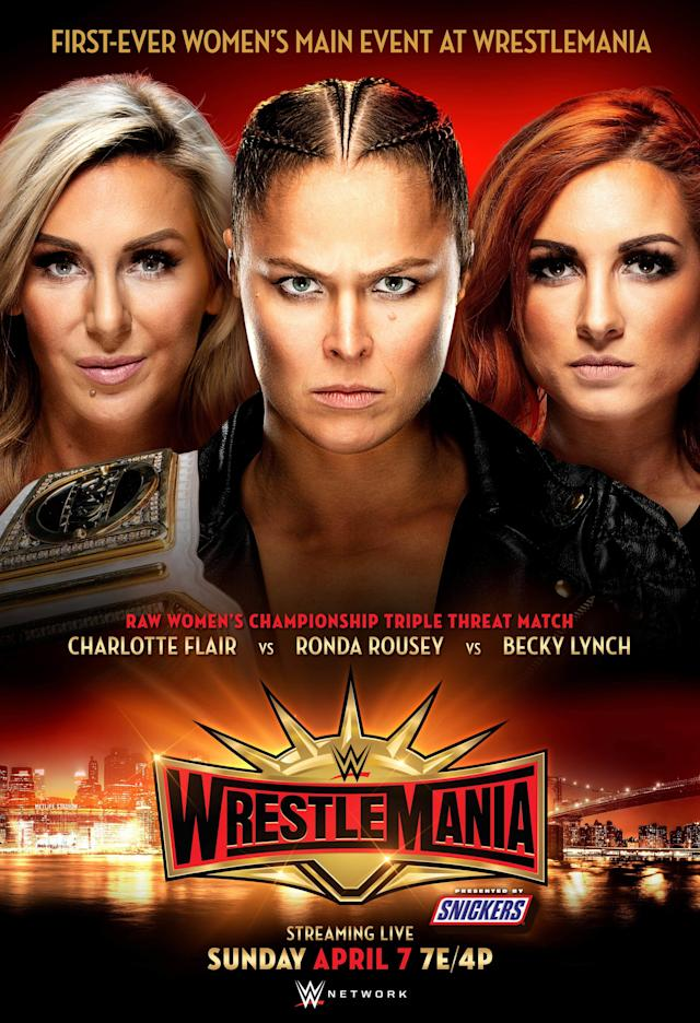 Charlotte Flair, Becky Lynch and Ronda Rousey's triple-threat match for the WWE Raw Women's Championship was announced as the main event for WrestleMania 35. (Photo courtesy of WWE)