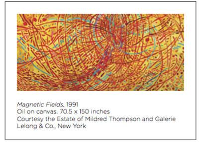 Magnetic Fields, 1991; Oil on canvas. 70.5 x 150 inches; Courtesy the Estate of Mildred Thompson and Galerie Lelong & Co., New York