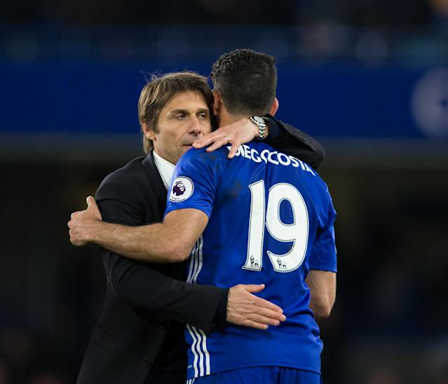 LONDON, ENGLAND – APRIL 05: Chelsea manager Antonio Conte celebrates with Diego Costa after the Premier League match between Chelsea and Manchester City at Stamford Bridge on April 5, 2017 in London, England. (Photo by Craig Mercer – CameraSport via Getty Images)