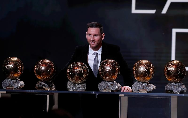 Lionel Messi won his sixth Ballon d'Or on Monday to break a tie with Cristiano Ronaldo for most all time. (REUTERS/Christian Hartmann)