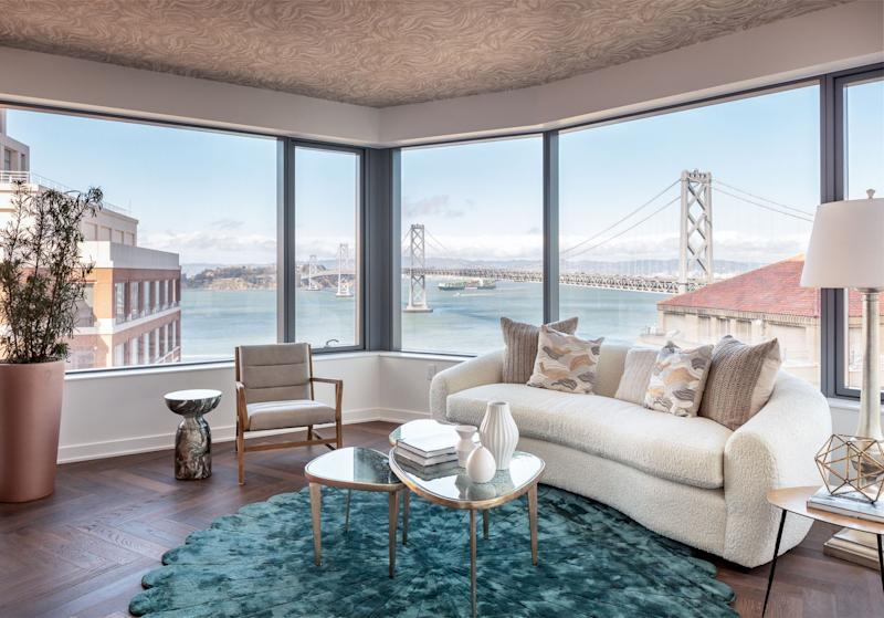 A view from the model unit shows the surrounding water and Bay Bridge.