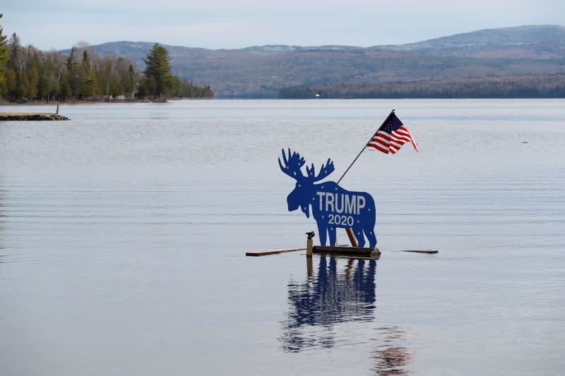 """A """"Trump 2020"""" campaign sign in the shape of a moose is seen Oquossoc, Maine"""