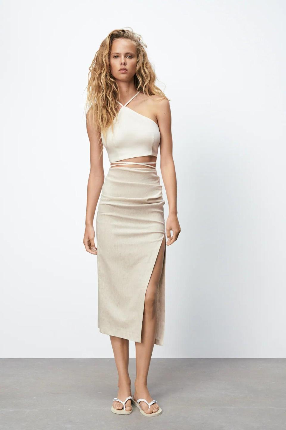 <p>How chic would this <span>Linen Blend Crop Top</span> ($26) look with a fitted skirt that has a side slit? We can't get this look out of our head. Just add the kitten heels, and you're off to dinner.</p>