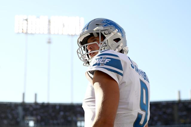 Lions QB Matthew Stafford won't start on Sunday, ending his streak of consecutive starts at 136. (Photo by Ezra Shaw/Getty Images)