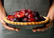 """Finally, a plum pie recipe that gives the stone fruit its due. The mascarpone cream is a surprise layer beneath the fruit—the best kind of surprise. <a href=""""https://www.bonappetit.com/recipe/plum-mascarpone-pie?mbid=synd_yahoo_rss"""" rel=""""nofollow noopener"""" target=""""_blank"""" data-ylk=""""slk:See recipe."""" class=""""link rapid-noclick-resp"""">See recipe.</a>"""