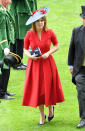 <p>Princess Eugenie was a lady on day three of the 2017 spectacle, breaking up the look with a purple hat adorned with red flowers. <em>[Photo: Getty]</em> </p>
