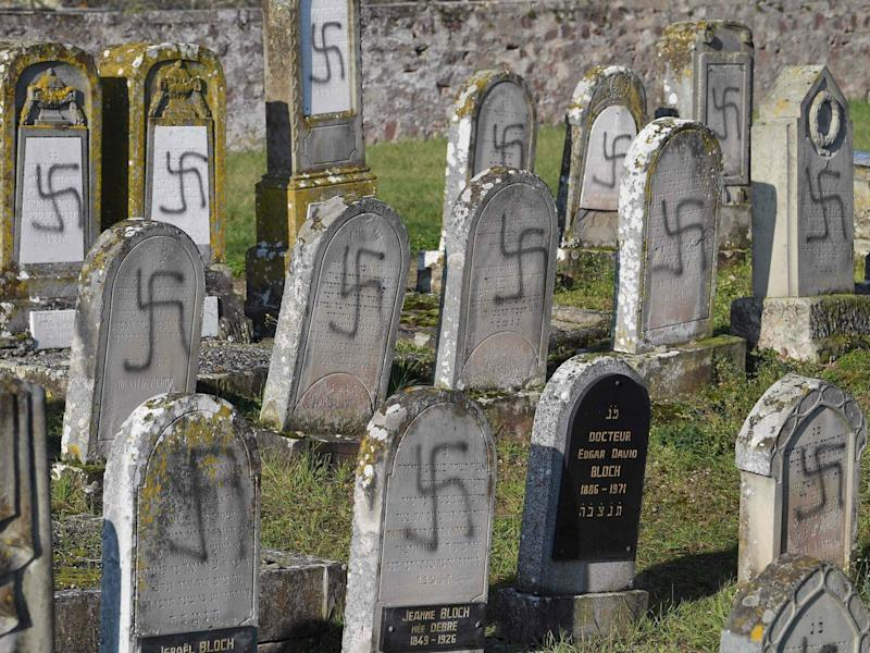 Antisemitic: the defaced Jewish graves in Westhoffen, France: Patrick Hertzog/AFP/Getty