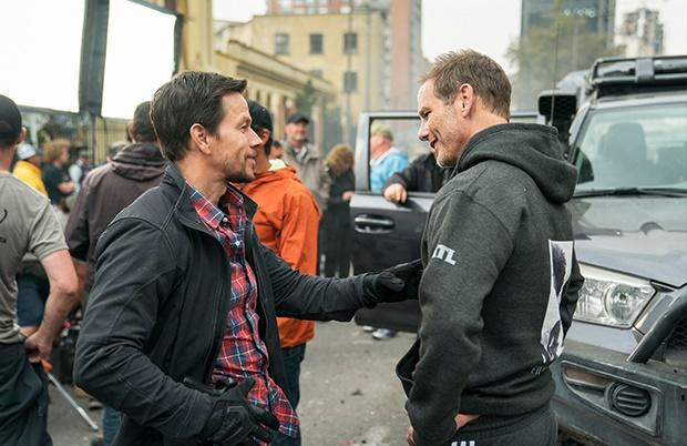 Mark Wahlberg and Peter Berg on set filming Mile 2