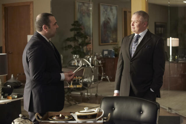 "Rick Hoffman as Louis Litt, Conleth Hill as Edward Darby in the ""Suits"" Season 3 Premiere, ""The Arrangement."""