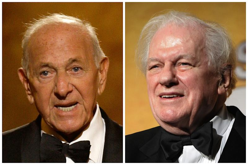 "This combination of Associated Press file photos shows, Jack Klugman, left, speaking at the 62nd Annual Tony Awards in New York on June 15, 2008 and Charles Durning, right, during the 14th Annual Screen Actors Guild Awards in Los Angeles. Klugman and Durning, both of whom died Monday, Dec. 24, 2012,  Klugman at 90 in Los Angeles, Durning at 89 in New York, spent storied careers building catalogues of roles that classed them indisputably as ""character actors."" (AP Photo/File)"