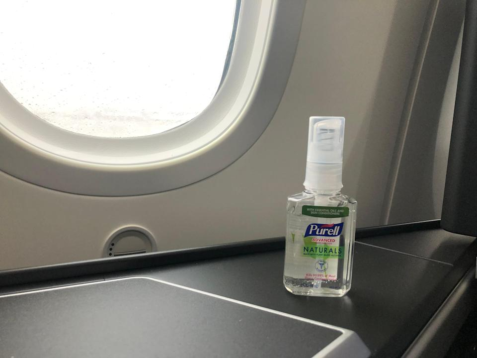 hand sanitizer in window