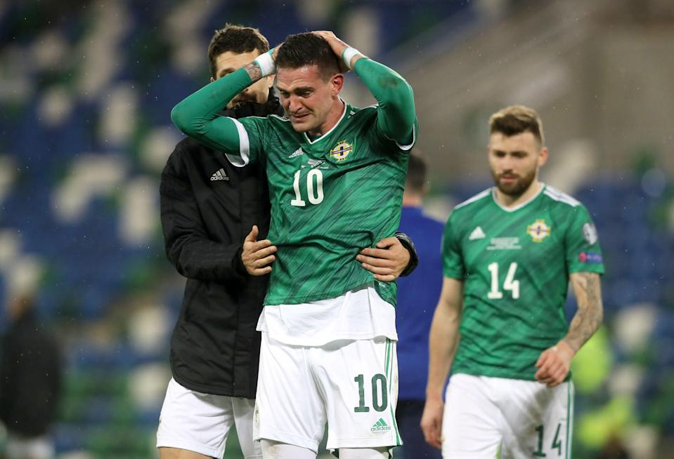 Northern Ireland's Kyle Lafferty reacts in defeat (PA)