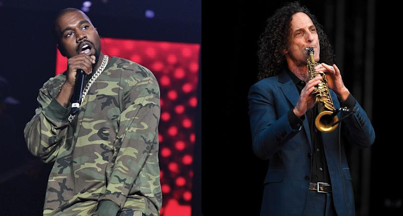 Kanye West and Kenny G are making music together. (Photo: Getty Images)