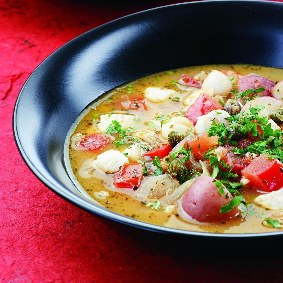 <p>San Francisco's Italian immigrants developed this stew to use the abundant local seafood. We've opted for farm-raised tilapia and scallops, but feel free to experiment with whatever is fresh.</p>