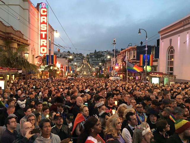 <p>People gather in the Castro District of San Francisco for a vigil for the victims of the Orlando shooting, June 12, 2016. (Stephen Lam/Reuters) </p>