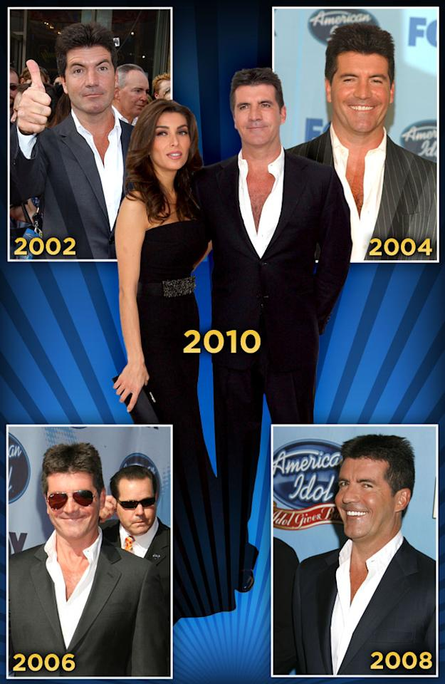 """This year isn't just Simon's last """"<a href=""""/american-idol/show/34934"""">Idol</a>"""" season. The confirmed bachelor <a href=""""http://www.radaronline.com/exclusives/2010/02/exclusive-its-official-simon-cowell-engaged-his-fiancee-tells-radaronline"""" rel=""""nofollow"""">has gotten engaged</a> to the show's makeup artist, in one of those that's-ironic-wait-that-totally-makes-sense whiplash moments in life. Be it love, lame-duck status, or just plain boredom, Simon seems a bit watered down. His lady love, Mezhgan Hussainy, gets him to loosen up (<a href=""""http://www.nationalenquirer.com/simon_cowell_girlfriend_nipples_shirt/mikewalker/64602"""" rel=""""nofollow"""">especially those T-shirts</a>, reportedly to deal with that nipple issue) and took him to a <a href=""""http://nookdeejung.blogspot.com/2010/03/simon-cowell-gets-makeover-as-fiancee.html"""" rel=""""nofollow"""">John Varvatos boutique</a>. After nine seasons in the same suit on the """"Idol"""" red carpet, will Simon glam up? We hope not. But then again, who are we to judge?"""