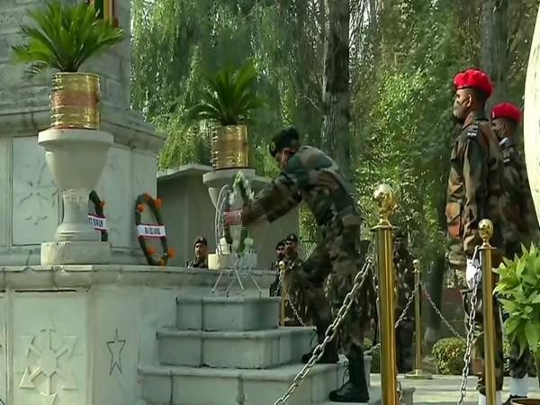 A visual from the wreath-laying ceremony in Srinagar on Tuesday. [Photo/ANI]