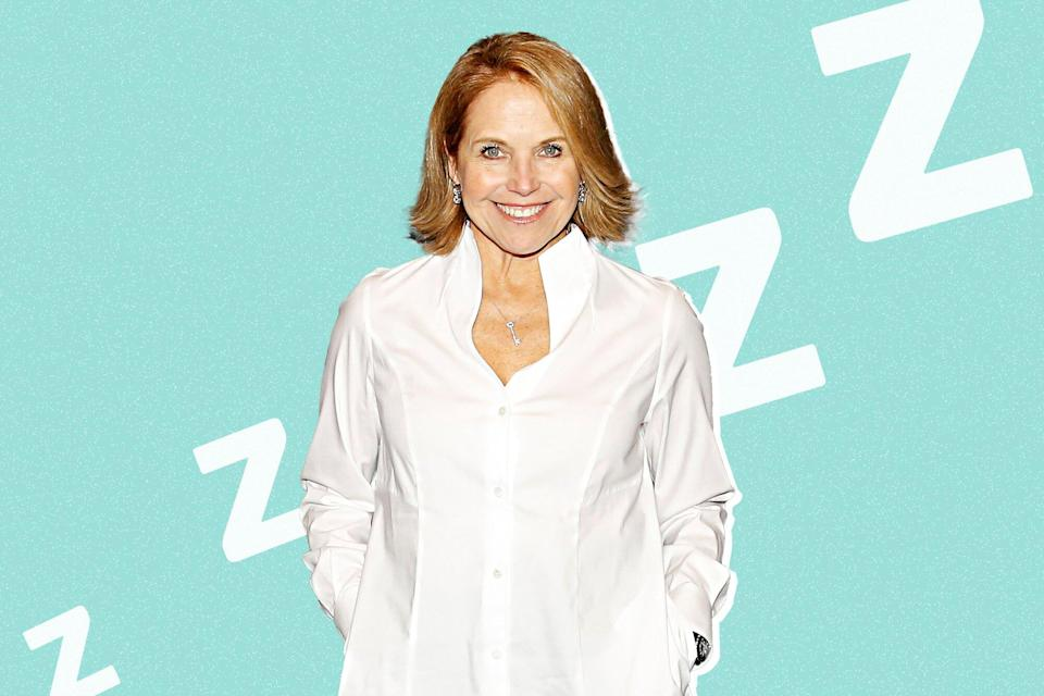 Katie Couric on a designed background with sleeping Z's