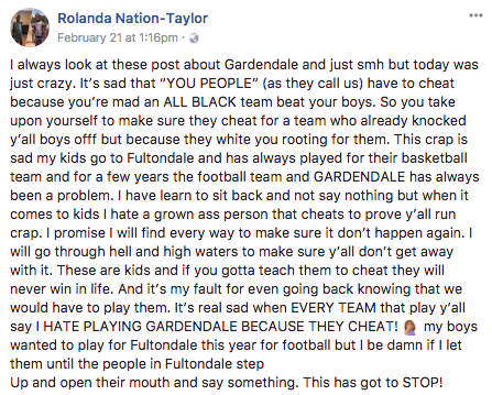 Was the scuffle the result of racial tensions? Source: Facebook/Rolanda Nation-Taylor