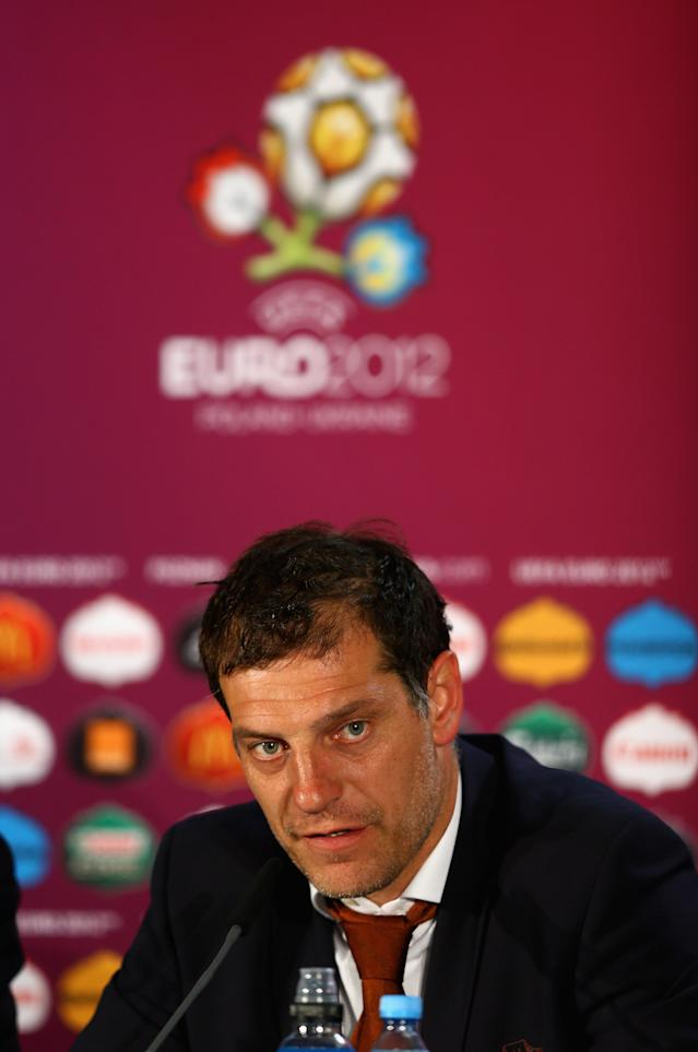 POZNAN, POLAND - JUNE 10: In this handout image provided by UEFA, Slaven Bilic of Croatia talks to the press during a UEFA EURO 2012 press conference after the UEFA 2012 Group C match between Republic of Ireland and Croatia on June 10, 2012 in Poznan, Poland. (Photo by Handout/UEFA via Getty Images)