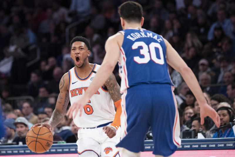 New York Knicks guard Elfrid Payton (6) drives against Philadelphia 76ers guard Furkan Korkmaz (30) in the second half of an NBA basketball game, Saturday, Jan. 18, 2020, at Madison Square Garden in New York. (AP Photo/Mary Altaffer)
