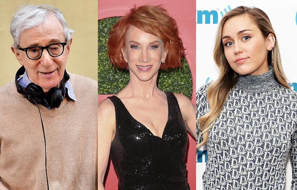 Kathy Griffin recalls Woody Allen talking to her about Miley Cyrus around the time the young actress starred in <em>Hannah Montana</em>, and it made her uneasy. (Photos: Getty Images)