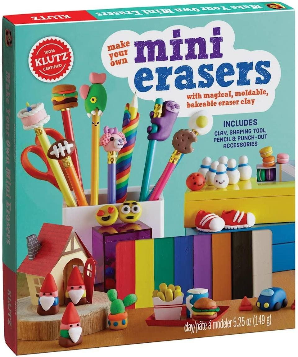 """<p>You'll be hard-pressed to find erasers as cute as the ones your kids will create with <a href=""""https://www.popsugar.com/buy/Klutz-Mini-Erasers-kit-568695?p_name=Klutz%27s%20Mini%20Erasers%20kit&retailer=amazon.com&pid=568695&price=15&evar1=moms%3Aus&evar9=25997679&evar98=https%3A%2F%2Fwww.popsugar.com%2Fphoto-gallery%2F25997679%2Fimage%2F42741345%2FKlutz-Make-Your-Own-Mini-Erasers-Toy&list1=holiday%2Cgift%20guide%2Ckid%20shopping%2Choliday%20living%2Choliday%20for%20kids&prop13=api&pdata=1"""" class=""""link rapid-noclick-resp"""" rel=""""nofollow noopener"""" target=""""_blank"""" data-ylk=""""slk:Klutz's Mini Erasers kit"""">Klutz's Mini Erasers kit</a> ($15).</p>"""