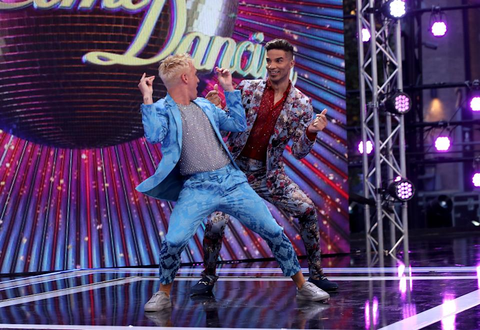 """LONDON, ENGLAND - AUGUST 26:  Jamie Laing and David James attend the """"Strictly Come Dancing"""" launch show red carpet at Television Centre on August 26, 2019 in London, England. (Photo by Mike Marsland/WireImage)"""