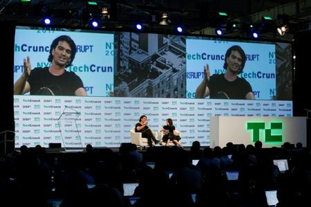 FILE PHOTO: Neumann, CEO of WeWork, speaks to guests during the TechCrunch Disrupt event in Manhattan
