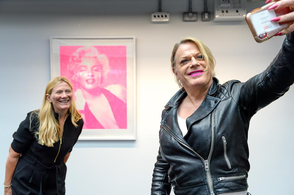 "LONDON, ENGLAND - SEPTEMBER 24: Rachel Tackley, Creative Director of Riverside Studios, and Eddie Izzard attend the ""Icons"" exhibition press view in conjunction with Art Hound Gallery at Riverside Studios on September 24, 2020 in London, England. (Photo by Nicky J Sims/Getty Images)"